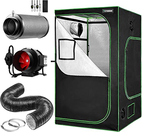 wholesale VIVOSUN 6 Inch 25 Feet Black wholesale Non-Insulated Flex Air Aluminum Ducting with Air Carbon Filter, lowest Inline Fan and Grow Tent online sale