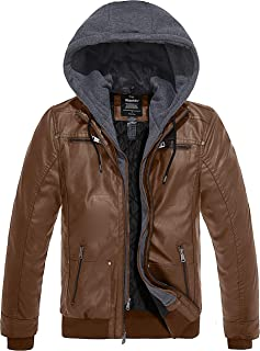 Men's Faux Leather Jacket with Removable Hood Motorcycle...