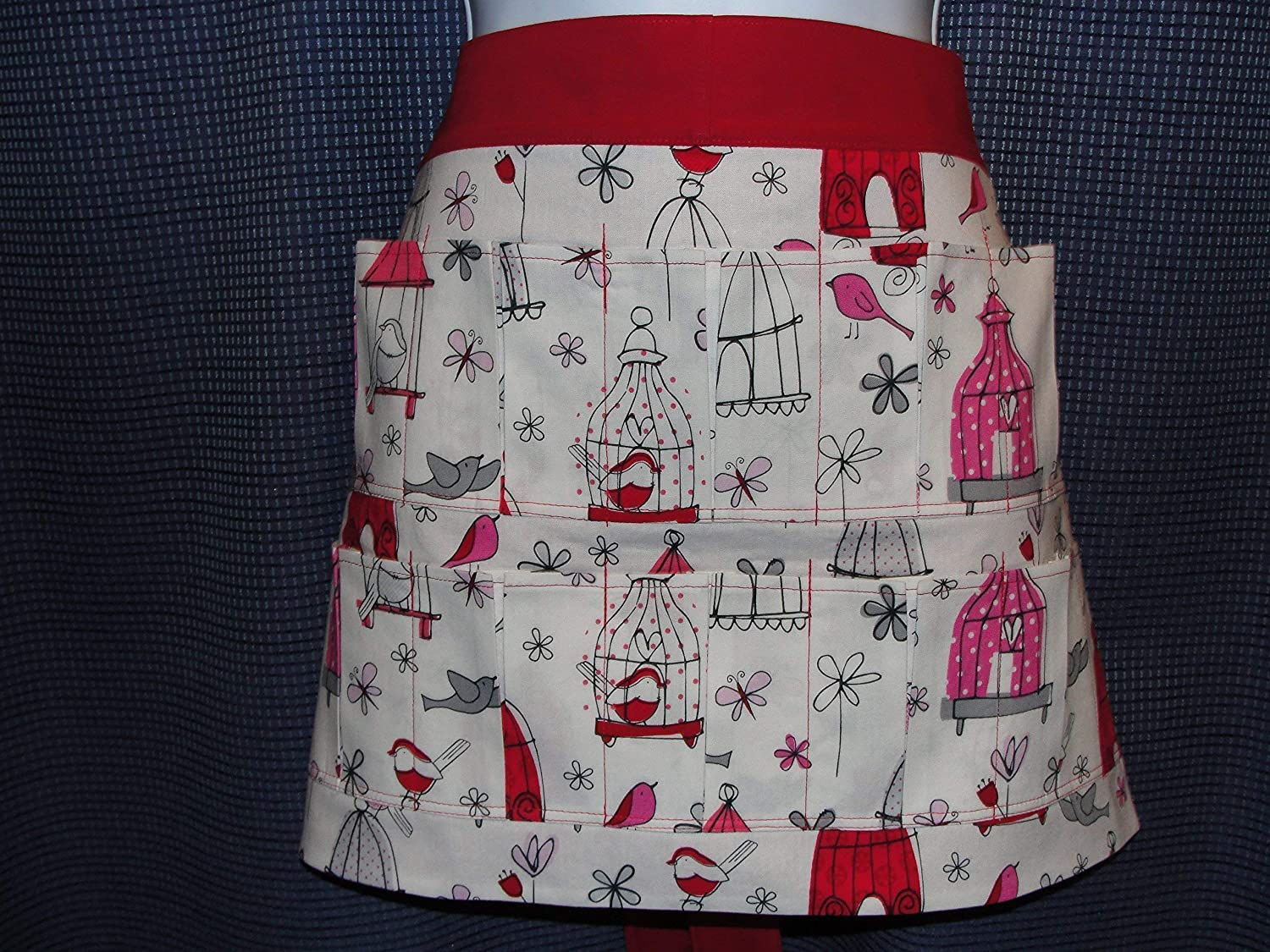 Red White Birds with Butterflies Super popular specialty store Sales of SALE items from new works 10 hold Pocket e Apron Pockets