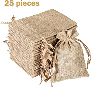 Whaline 25 Pieces Burlap Bags Drawstring, Jute Gift Bags 6.3 x 4.3 Inches for Jewelry and Treat Pouch Wedding, Party Favor, DIY Craft, Presents, Christmas,Snack Sacks,Birthday,Baby Shower