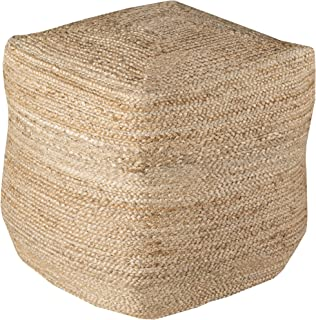 Surya Decorative Pouf, 18 by 18 by 18-Inch, Natural