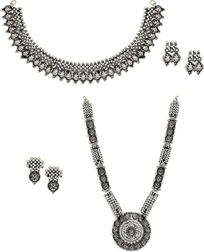 Combo of 2 Antique Silver Tone Divine Temple Necklace Set For Women ZPFK6506