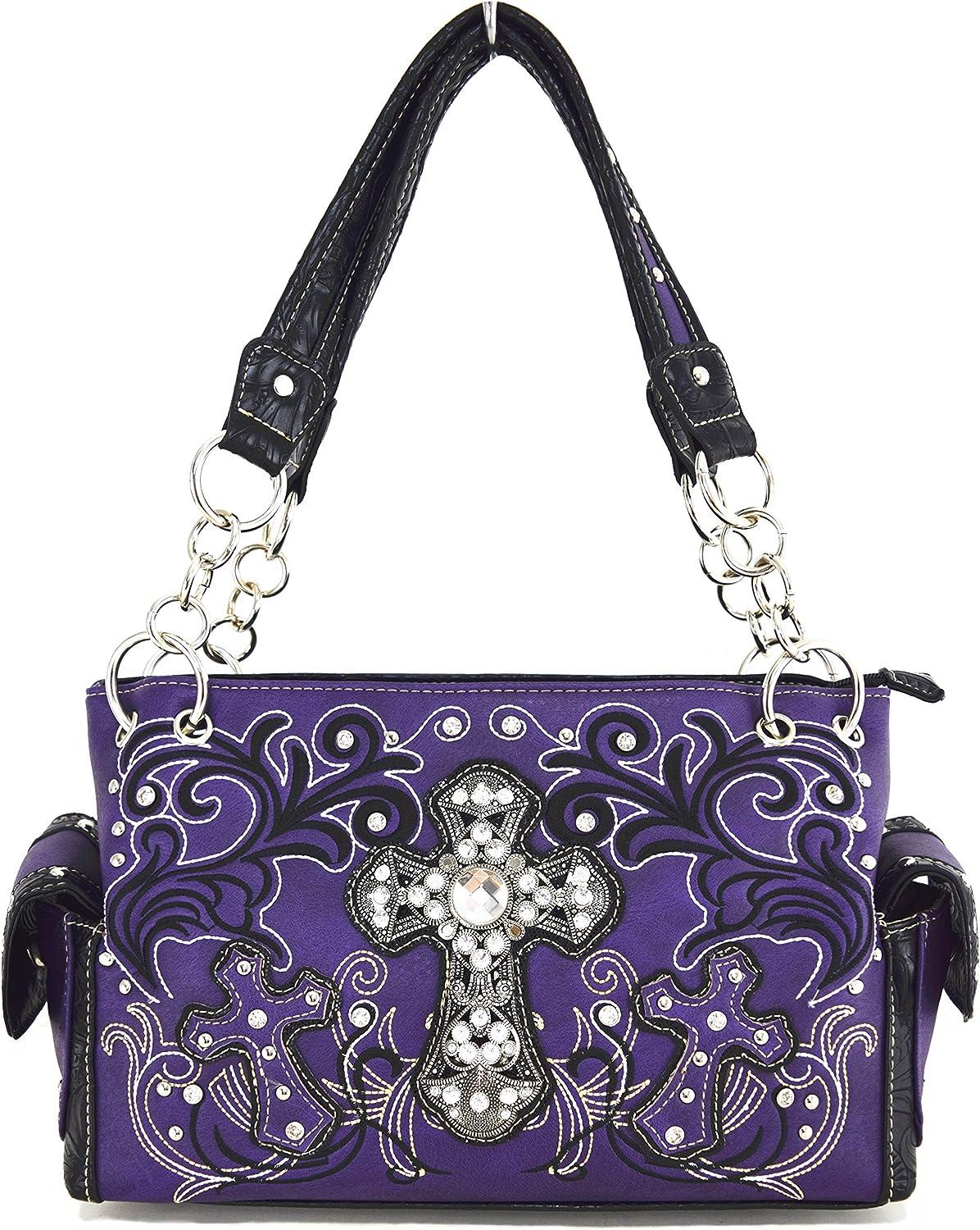 whiteho Bedding Womens [Cross Satchel] PU Leather Handbag Fashion Elegant Tote Bag PURPLE