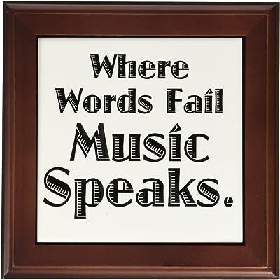 3dRose ft_171895_1 Where Words Fail Music Speaks Framed Tile, 8 by 8-Inch