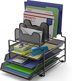 SimpleHouseware Desk 3 Sliding Tray and 5 Stacking Section Organizers, Black