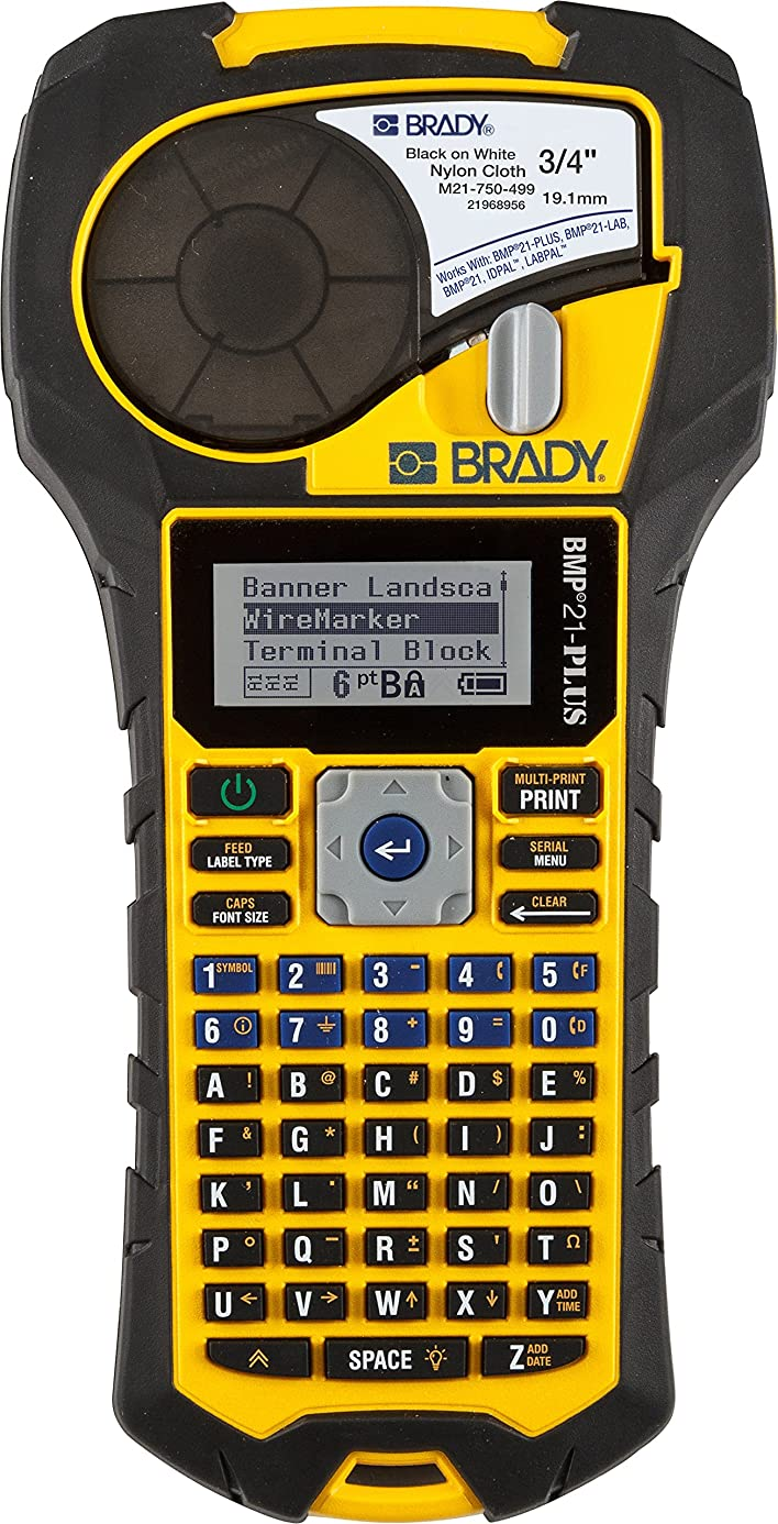 Brady BMP21-PLUS Handheld Label Printer with Rubber Bumpers, Multi-Line Print, 6 to 40 Point Font aga3919825