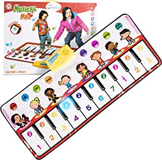 SMITCO Piano Mat for Toddlers - Dance Toys for Kids with Volume Control - 36 x 16 Inch Roll Up Floor Keyboard Playmat for Musical Electronic Foot Step and Play - 10 Melodies and More for Hours of Fun