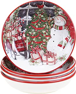 Certified International Snowman's Sleigh Soup/Pasta Bowl (Set of 4), 9.25
