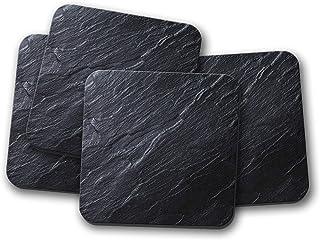Set di 4 Sottobicchieri Quadrati in Pietra Fossile