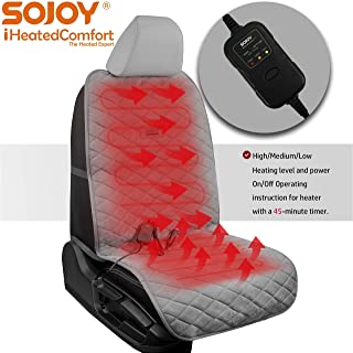 Sojoy Universal 12V Heated Car Seat/Cushion Warmer High/Low, 45 Mins Automatically Turn-Off Timer (Gray, Smart, Multifunctional 3 Temp Switch)