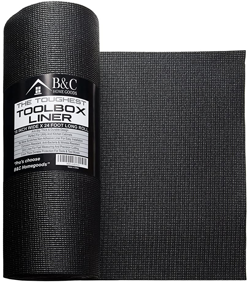 Professional Tool Box Liner and Drawer Liner - Black 18 inch x 24 feet Non-Slip Shelf Liner Is Perfect For Protecting Your Tools - These Thick Cabinet Liners Are Easily Adjustable To Fit Any Space