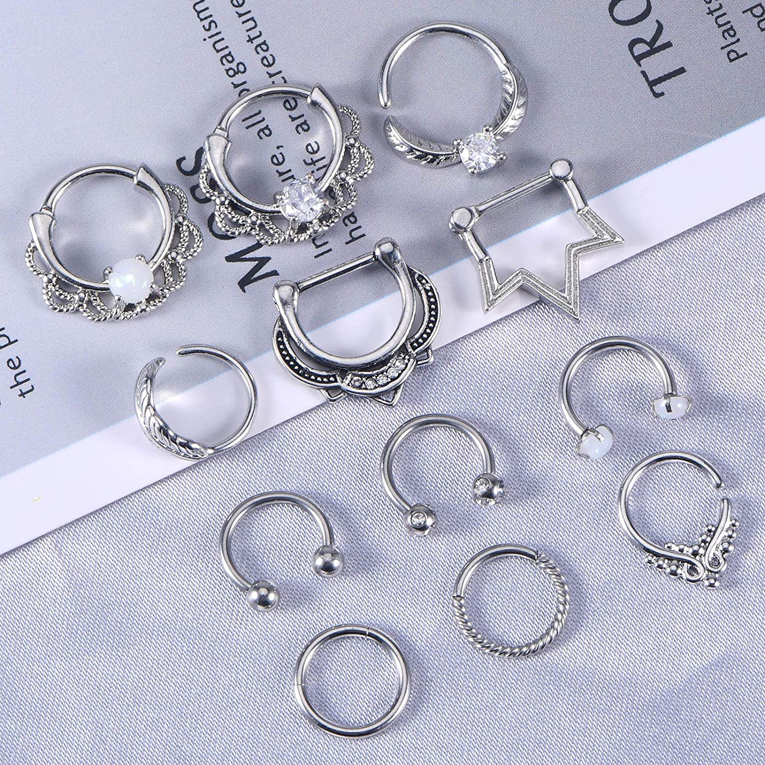 Anicina Septum Jewelry Hinged Segment Clicker Tragus Septum Clicker Ring Stainless Steel Septum Ring Piercing Horseshoe Cartilage Helix Daith Earring Hoop