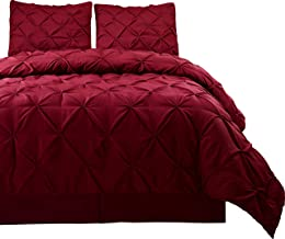 Cozy Beddings, Master 2 Piece Comforter Set, Twin/Twin XL Bed Size Pinch Pleat Bed Cover Set for All Season, Burgundy