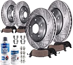 Detroit Axle - All (4) Front and Rear Drilled and Slotted Disc Brake Rotors w/Ceramic Pads w/Hardware & Brake Cleaner & Fluid for 2005 2006 2007 2008 2009 Mercedes-Benz E320 E350