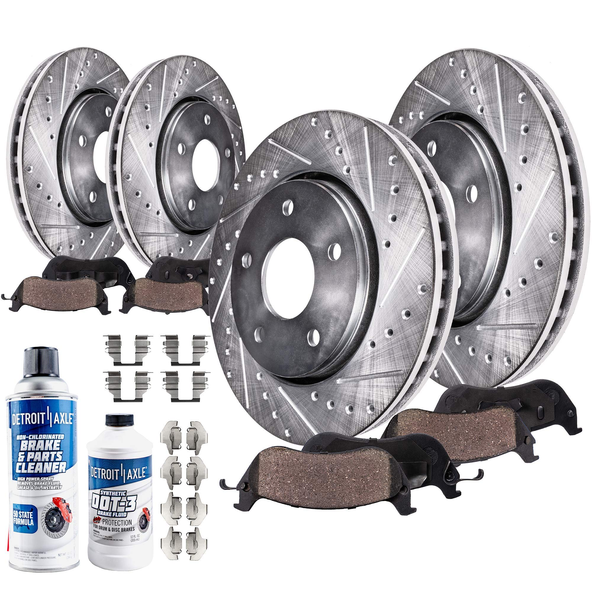 Amazon Com Detroit Axle Read Fitment All 4 5 Lug Front And Rear Drilled And Slotted Disc Brake Kit Rotors W Ceramic Pads W Hardware Brake Kit Cleaner Replacement For 2007 2017 Chrysler Dodge Ram