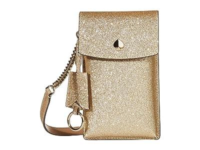 Kate Spade New York Glitter NS Flap Phone Crossbody (Pale Gold) Cross Body Handbags