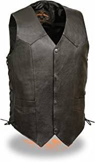 Milwaukee Leather Men's Classic Side Lace Biker Vest (Black, Size 52)