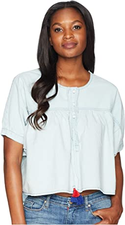 Shirred Button Front Shirt