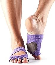 toesox Yoga Women Dance Socks – Non Slip Grip Releve Half Toe for Pilates, Barre