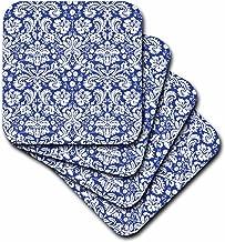 3dRose cst_151455_3 Royal Blue and White Damask Pattern-Elegant Victorian Vintage French Floral Swirls-Navy-Ceramic Tile Coasters, Set of 4