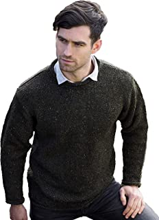 Aran Crafts Men's Irish Cable Knitted Curl Neck Sweater (100% Donegal Wool)