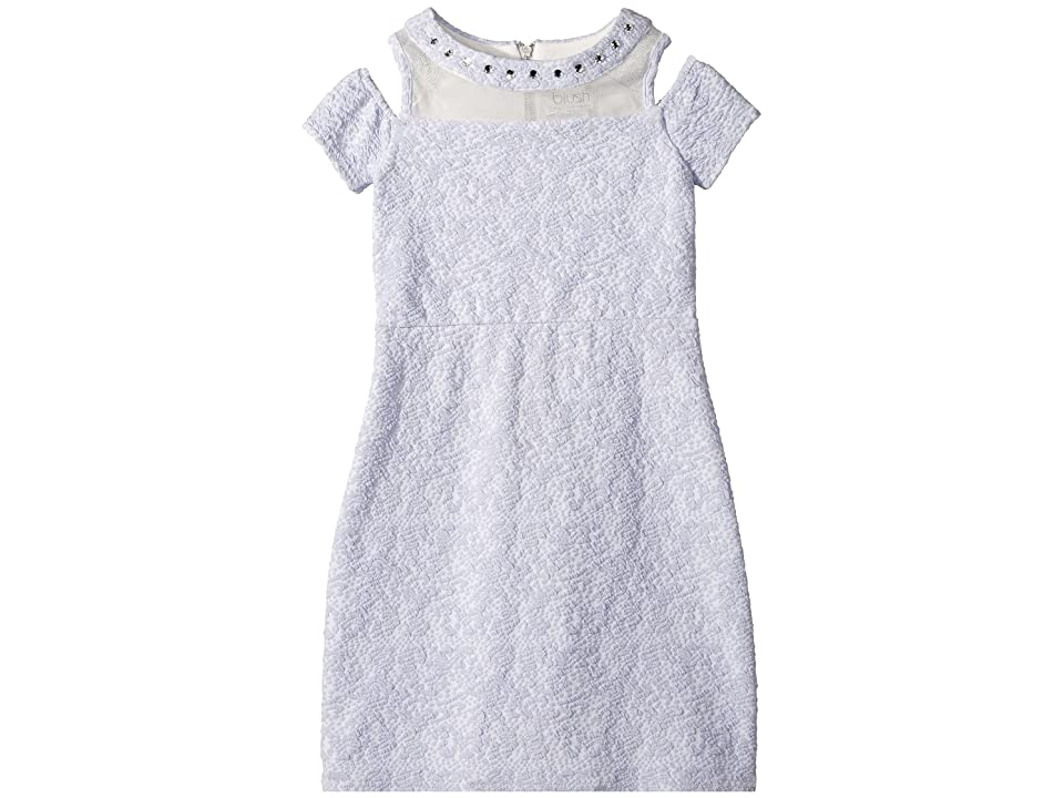 Us Angels Cold Shoulder Illusion Textured Knit Sheath (Big Kids) (Periwinkle) Girl