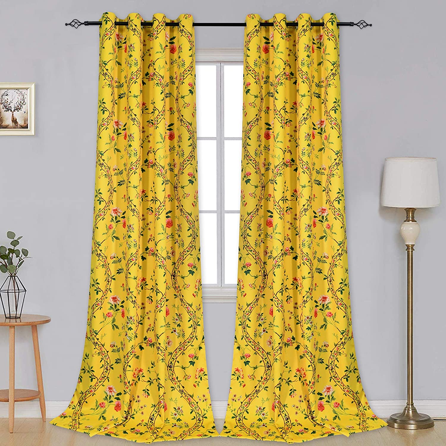 Dark Yellow Vine Floral discount Blackout Time sale Curtains Living Roo Bedroom for