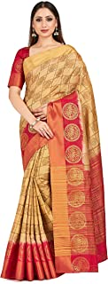 MIMOSA Women's Banarasi Tussar Silk Saree With Unstitched Blouse Piece (4638-2615-2D-TS-RD_Brown)