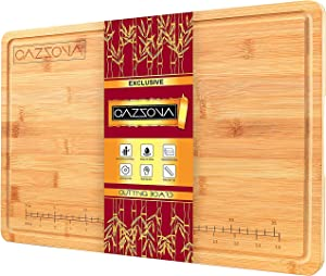 CAZZOVA Bamboo Cutting Board EXTRA LARGE with RULER and Juice Groove - Kitchen Wood Butcher Block for Meat Vegetables and Cheese- Chopping- Charcuterie Board- Wooden Serving Tray w/ Handles