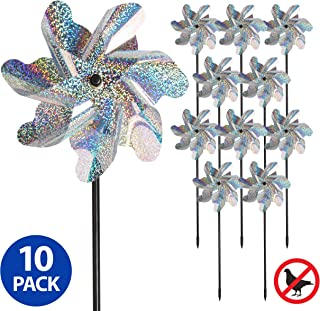 Tapix Bird Blinder Repellent Pinwheels, Effectively Keep Birds Away - Holographic Pin Wheels for Yard and Garden 15 inch Pinwheel Bird Deterrent, 10 Pack Garden Spinners, Great Geese Deterrent Product