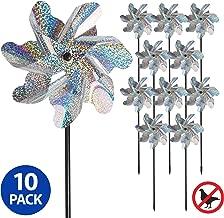 Tapix Bird Blinder Repellent Pinwheels, Effectively Keep Birds Away - Holographic Pin Wheels for Yard and Garden 15 inch Pinwheel Bird Deterrent, 10 Pack Garden Spinners, Great Geese Deterrent Product