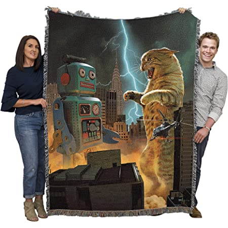 Catzilla Vs Robot - Vincent HIE - Cotton Woven Blanket Throw - Made in The USA (72x54)