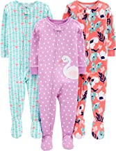 Simple Joys by Carter`s Baby and Toddler Girls` 3-Pack Snug Fit Footed Cotton Pajamas