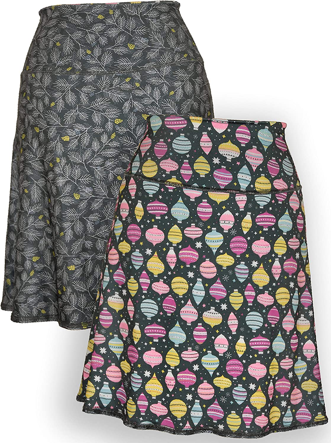 Green 3 Novelty Reversible Athleisure Skirt  Womens Recycled Skirt, Made in The USA