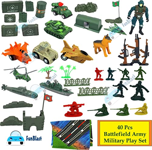 FunBlast Pretend Play Special Force Battlefield Army Military Play Set Toys for Kids with Mat, Role Play Toys for Boy...