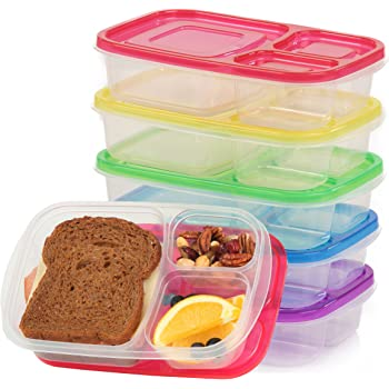 Qualitas Products Premium Kids Bento Boxes - 3 Compartments, 5 Bento Box Microwave Safe Lunch & Leftover Containers Set for Kids and Adults - Made From Food Grade Plastic
