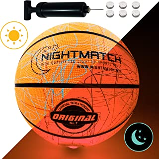 NIGHTMATCH Light Up Basketball - Jumble Edition - INCL. BALL PUMP and SPARE BATTERIES - Inside LED lights up when bounced - Glow in the Dark Basketball - Size 7 - Official Size & Weight - Night Sports