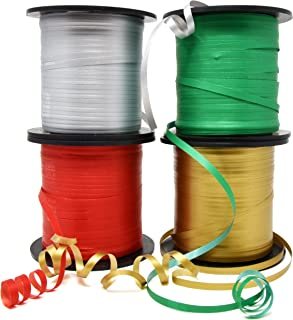 Christmas Curling Ribbon Pack of 4 Rolls Green, Red Gold & Silver; Holiday Party Crafts Supplies Decorations- 350 Yards pe...