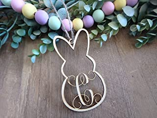 Easter basket tags personalized, custom wood monogram letter bunny ornament