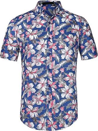 uxcell Camisa Hawaiana De Playa Estampado Floral Manga Corta Botones Abajo Ajustado para Hombre
