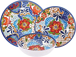 First Design Global DNS0719 Azteca Decorative Floral Tile 12 Piece Melamine Dinnerware Set, For Parties or Everyday Use, Service for 4, Spanish