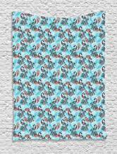 ABAKUHAUS Navidad Tapiz de Pared, Pavos Reales Copos de Nieve, para el Dormitorio Apto Lavadora y Secadora Estampado Digital, 150 x 200 cm, Cielo Azul Rojo