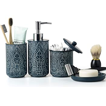 Virtune Premium Navy Blue Bathroom Accessories Set Blue Bathroom Set Blue Bathroom Decor Accesorios Para Banos New Apartment Essentials Blue Toothbrush Holder And Soap Dispenser Amazon Co Uk Kitchen Home