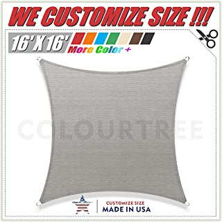 ColourTree 16' x 16' Grey Square Sun Shade Sail Canopy – UV Resistant Heavy Duty Commercial Grade -We Make Custom Size