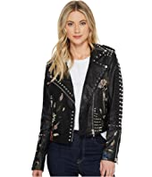 Blank NYC - Studded Floral Embroidered Moto Jacket in Budding Romance