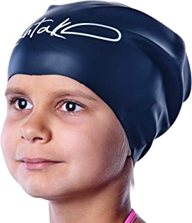 Swim Caps for Long Hair Kids - Swimming Cap for Girls Boys Kids Teens with Long Curly Hair Braids Dreadlocks - 100% Silicone Hypoallergenic Waterproof Swim Hat