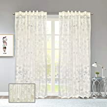 Linenwalas Designer Polyester Door Sheer Curtain Pair of 2-4.5ftx7ft - Off White
