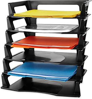 Rubbermaid Regeneration Letter Tray, Six Tier, Plastic, Black (86028)