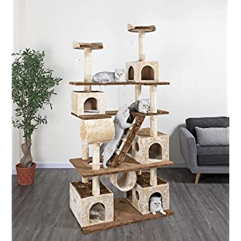 "Go Pet Club Beige and Brown 87.5"" Cat Tree Climber with Ladder and Swing"