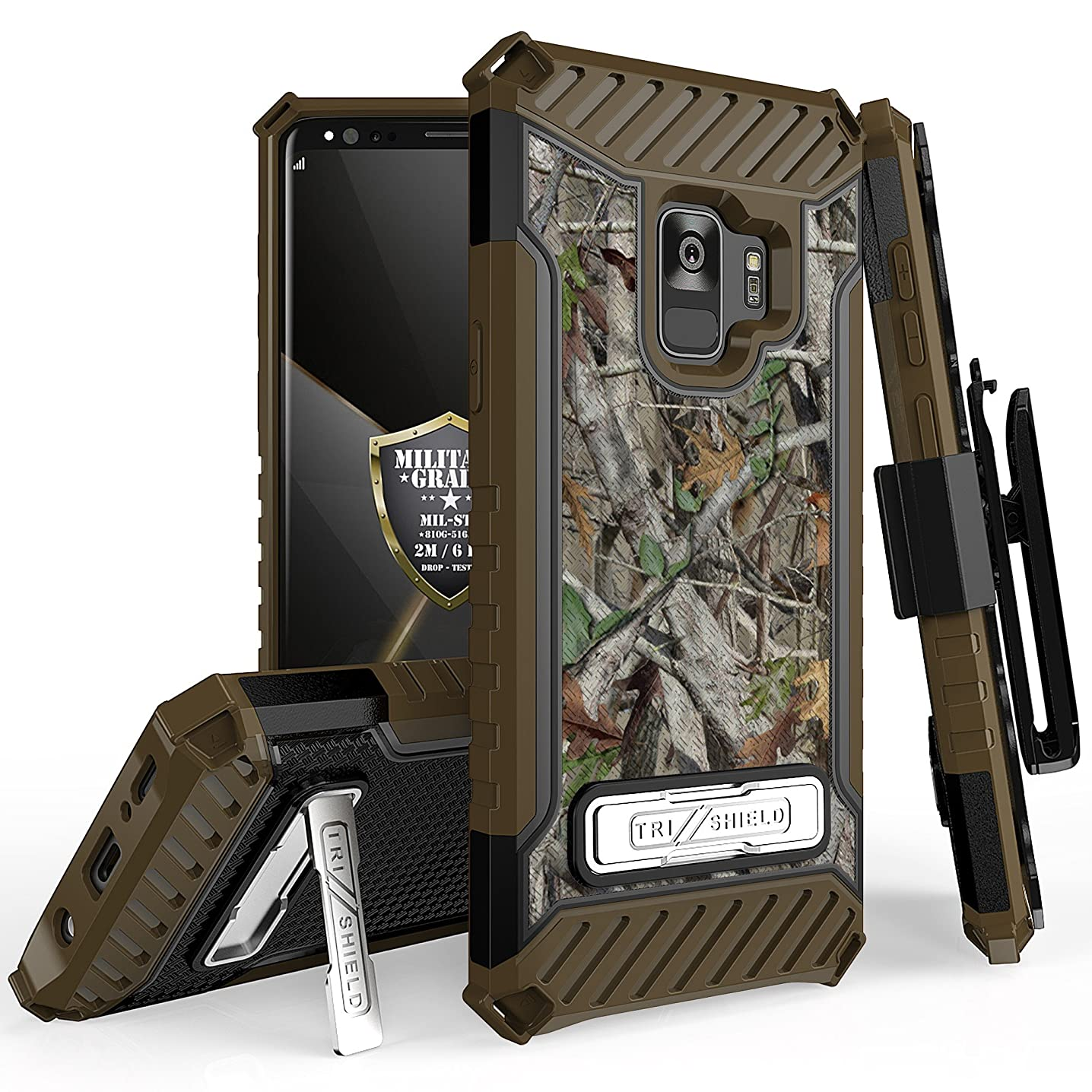 for Samsung Galaxy S9 TRI-Shield Series Rugged Heavy Duty Shock Resistant CASE [with Kickstand & Lanyard] for Galaxy S9 (SM-G960) (Camo Leaves)